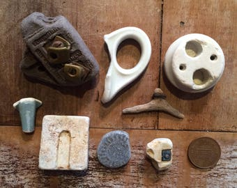 UNUSUAL BEACH FINDS ~ Sea Pottery ~ Found Object Sculpture Making ~ Ammonite Fossil ~ Art Supply ~ Lucky Charms ~ Collage Making