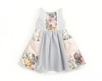 Girls pocket dress, little girl dress, toddler dress, baby girls dress, special occasion, party dress, baby shower gift, cotton dress