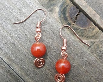 Handmade Fire Agate Earrings