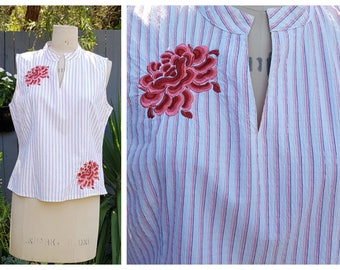 Vintage Striped Blouse with Mandarin Collar and Chrysanthemum Embroidery Motif