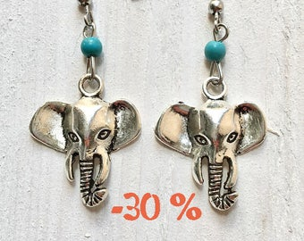 SUMMER SALE / / / Sweet elephant in silver and turquoise earrings / / / Boho style