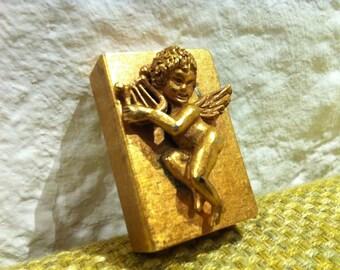 Antique Matchbox box metal brass Angel Tobacciana cherub Angel matchbox antique