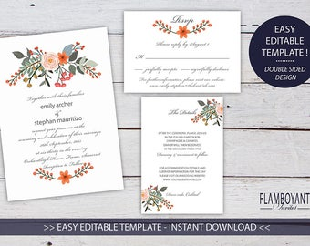 HEDGEROW Suite - Invitation, RSVP & Details Card - Editable Templates - Charming Country Floral Style - Printable - Instant Download