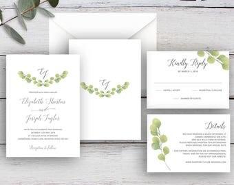 FRESH GREENERY, DIY Printable Invitation Suite Templates, Watercolour Eucalyptus Leaves