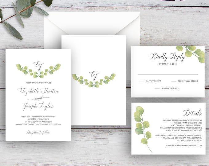 Featured listing image: FRESH GREENERY, DIY Printable Invitation Suite Templates, Watercolour Eucalyptus Leaves
