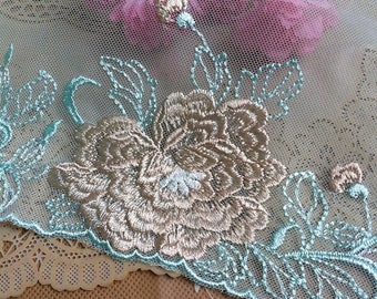 Vintage Light Blue Mesh Embroidery Lace Trim 9.84 Inches Wide 1 Yard/ Craft Supplies, WL1752