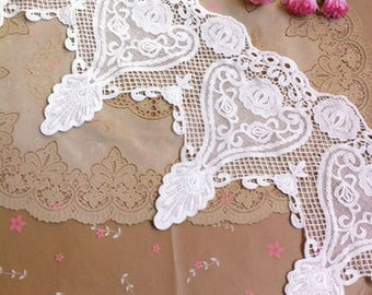 Vintage White Lace Trim 8.66 Inches Wide 1.09 Yard/ Craft Supplies, WL1746