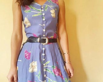 Vintage C& A dusty blue floral maxi dress with pockets Size S