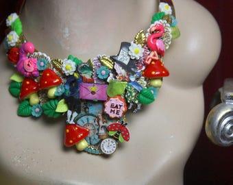 Set Of Alice In Wonderland Flowers Necklace + Earrings