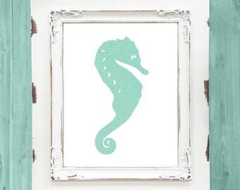 Seahorse Wall Decor, Beach Wall Art, Teal Beach Decor, Nautical Wall Art,