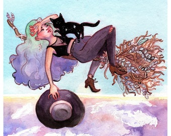 Witch on her broomstick. Above the clouds. Black cat. Watercolor Print.