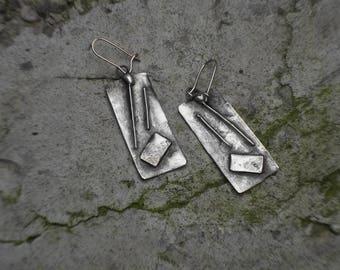 Inudstrial Necklace, Inudstrial Jewelry, Drop Earrings, Woman Earrings, Copper Earrings, Handmade Jewelry,  Geometry Earrings, Geometry Gift