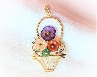 Vintage 14k Yellow Gold Amethyst Carnelian Rose Quartz Pendant Flower Basket 2.5g 3-D Necklace Estate Statement 14kt Marked 14 k kt Gemstone