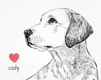 Custom pet drawing, custom pet portrait, dog memorial, cat memorial, pet portrait, dog memorial gift, custom dog portrait, custom dog