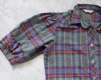 Vintage 80s Geometric Plaid Shirt Button Up - Small