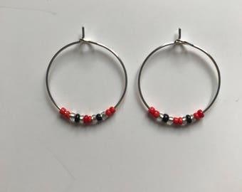 Red, silver and black hoop beaded earrings