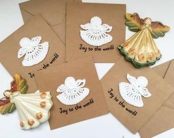 Unique Christmas Card, Crochet card, Angels Card, Christmas Card, Handmade Christmas Card