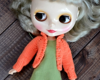 Knitted outfit for Blythe doll, clothes for Blythe, sweater for Blythe, BLYTHE doll hand knit wool cardigan, sweater for Blythe