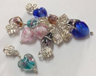 Colorful heart dangle charms for charm bracelets lot