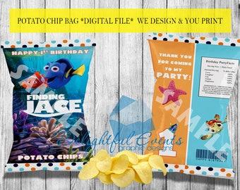 Finding Nemo/Dory Birthday or Baby Shower Custom Printable Chip/Treat/Snack Bag