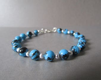 African Turquoise & Silver Stardust Bead Bracelet Gorgeous Gift!!
