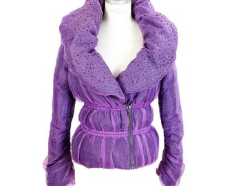 Pinko puffer down purple jacket size 42 double breasted women's