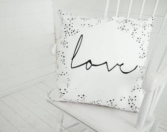 Love Dots Monochrome Black White Cushion Pillow