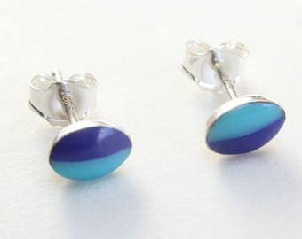 Sterling Silver Studs Turquoise and Lapis Earrings Zuni Indian Native American Small Tiny Oval Inlaid Inlay