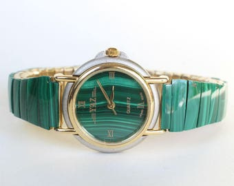 Malachite Watch Stretchy Band Real Stone Band Watch for Her Gift Gemstone Womens