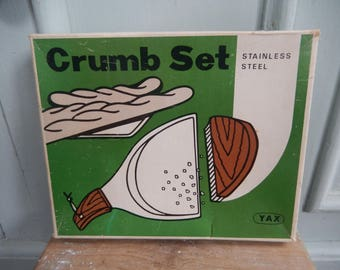 Retro c 1970s Crumb Tray, Stainless Steel Tray, Crumb Set, Yax Crumb Set, Table Brush, Boxed Crumb Tray, Table Tidy Set
