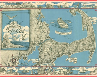 1945 Map of Cape Cod Digital Download