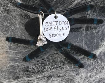 CAUTION low flyin' brooms Halloween necklace on black leather cord - hand stamped - charm necklace - broom charm necklace