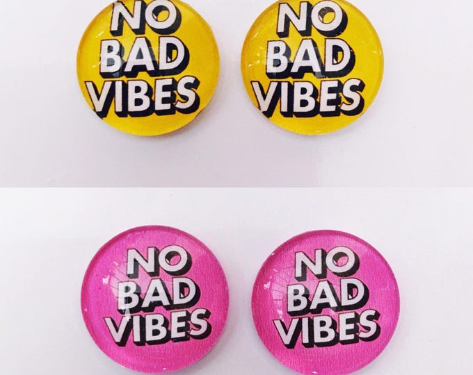 The 'No Bad Vibes' Glass Earring Studs