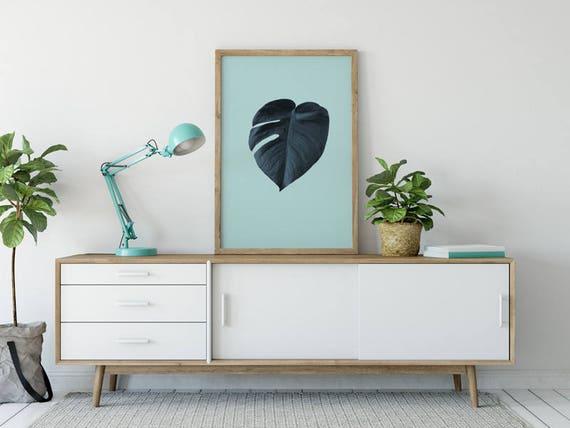 Monstera Leaf Print Tropical Wall Art Mint Monstera