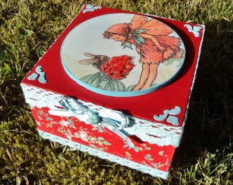 Box decorative, storage box, jewelry box, wooden box, box vintage, red clover fairy spirit.