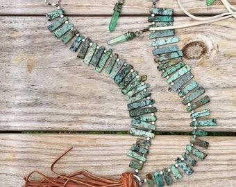 Long Beaded Boho tassel Necklace-agate