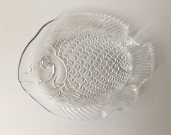 Fish-shaped glass saucer