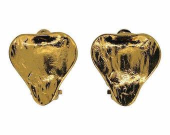Yves Saint Laurent 1980s Gold Plated Vintage Heart Earrings