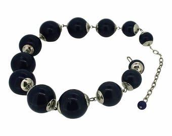 1960s Navy Blue Plastic Vintage Necklace