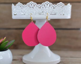 Hot pink leather earrings in teardrop, diamond, and straight drop