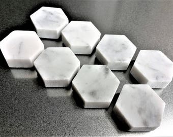 Carrara Marble Magnets in Decorative Tin | Super Strong | Set of 8 | Luxury Magnets | Fridge Magnets | Hexagon Magnets | Gray Marble Magnets