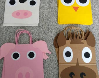 Set of 12 Farm Animal Birthday Loot Bags / Favor Bags / Party Favors