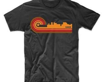 Retro Style Bangor Maine Skyline T-Shirt