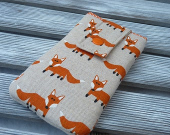 Phone pouch orange foxes, Padded phone sleeve, Phone pouch, Fabric phone case, Protective phone cover, Fox, gift for her, girl birthday gift