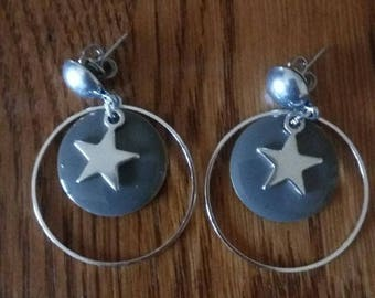 taupe stars and sequin earrings