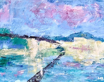 """Abstract  expressionist painting inspired by Gustave Loiseau / Contemporary art 24""""x18"""""""