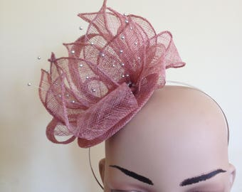Dusky Pink Fascinator,Pink Fascinator,Pink Wedding Hat,Pink Ascot Fascinator,Dusky Pink Ascot Hat,Dusky Pink Wedding Fascinator,Pink Hat