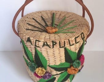 Vintage Rattan and Straw Bucket Bag with Acapulco Stitching // 1960's-1970's