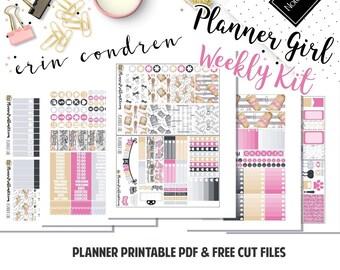 Planner Girl! // Printable Weekly Planner Kit// 5 Pages // Fits Erin Condren Vertical// Included: JPG, PDF, Cut File | PlannerProblem