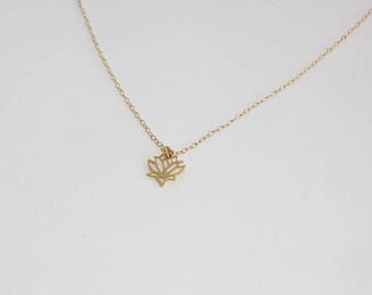 Lotus necklace gold - plated lotus necklace